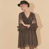 Chiffon Shirring Dress Black