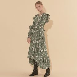 Unbalance Ruffle Dress Green