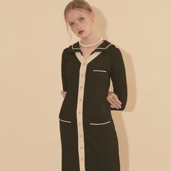 Sailor Collar Cardigan Black