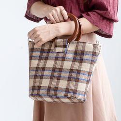 [ZIUM] W-09 체크 우드링 여성가방 핸드백 데일리백