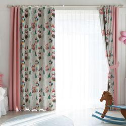 인디언 부엉이 암막커튼 핑크 패턴 1폭140x230cm
