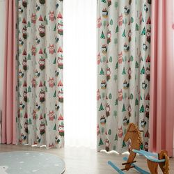 인디언 부엉이 암막커튼 핑크 패턴 2폭+무지 1폭 420x230cm