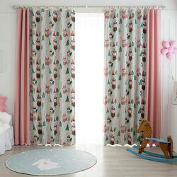 인디언 부엉이 암막커튼 핑크 패턴 2폭+무지 2폭 560x230cm