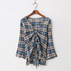 New Check Shirring Blouse