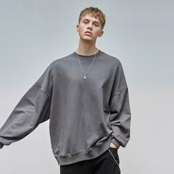 LOOSE-FIT CREWNECK SWEATSHIRT CHARCOAL