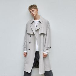 PREMIUM OVER TRENCH COAT GRAY