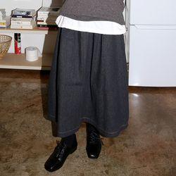 pintuck denim skirts (black)