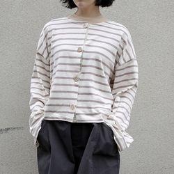 stripe round neck cardigan (3colors)