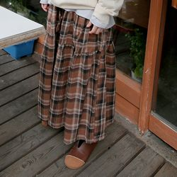 comfy check banding skirts (2colors)