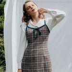 Heart Check Ribbon Sleeveless Dress (Wool 15%)