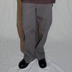 raw cotton wide pants (brown)