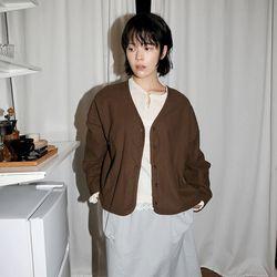 simple v neck cardigan (brown)