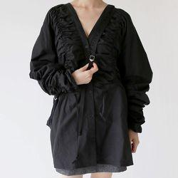 sensual drape maxi blouse (black)
