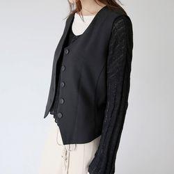 retro clean cotton vest (black)