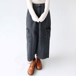 denim cargo long skirts (2colors)