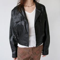 crack vintage leather jacket (2colors)
