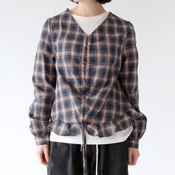 check shirring cozy blouse (3colors)