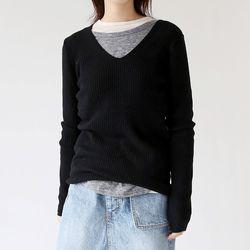 v neck soft knit (4colors)