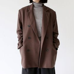 stripe boy duble jacket (brown)