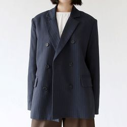 stripe boy duble jacket (navy)