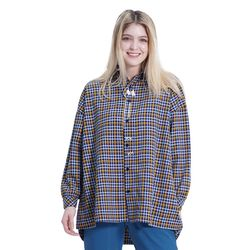 (UNISEX) MMM Long Over Check Shirts (SKY BLUE)