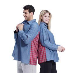 (UNISEX) Blue Color Boxy Shirts