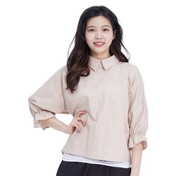 Lovely M Back Opening Blouse (BEIGE)