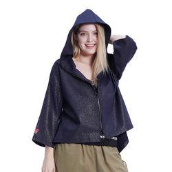 Jewel Shine Zip-up Hood (NAVY)