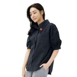 Lovely M Linen SODE Balloon Shirt (NAVY)