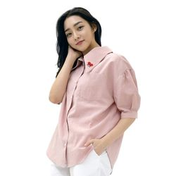 Lovely M Linen SODE Balloon Shirt (PINK)