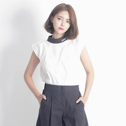 Linen Sleeveless Shirt (NAVY)