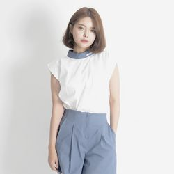 Linen Sleeveless Shirt (BLUE)