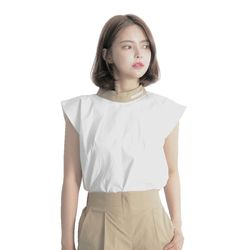 Linen Sleeveless Shirt (BEIGE)