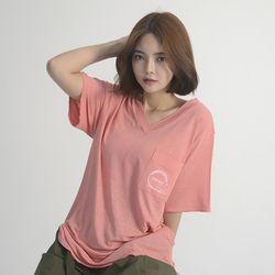 (UNISEX) Linen Wave V-neck Short Sleeve T-Shirt (PINK)