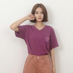 (UNISEX) Linen Wave V-neck Short Sleeve T-Shirt (PURPLE)