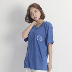 (UNISEX) Linen Wave V-neck Short Sleeve T-Shirt (BLUE)