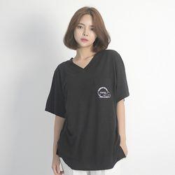 (UNISEX) Linen Wave V-neck Short Sleeve T-Shirt (BLACK)
