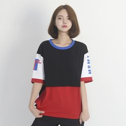 (UNISEX) Color Block Short Sleeve T-Shirt (BLACK)