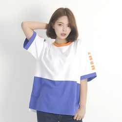 (UNISEX) Color Block Short Sleeve T-Shirt (WHITE)