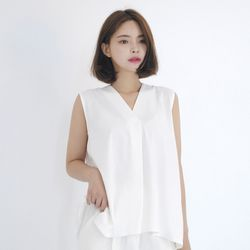 Chiffon Sleeveless Blouse (WHITE)