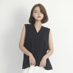 Chiffon Sleeveless Blouse (BLACK)