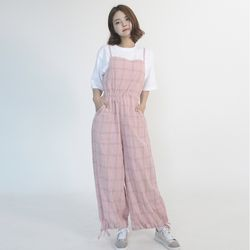 Cotton Check Long-wide Jumpsuit (PINK)