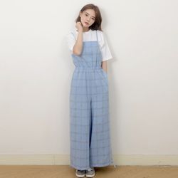 Cotton Check Long-wide Jumpsuit (BLUE)