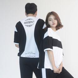 (UNISEX) MRMNT Block Short Sleeve T-shirt (BLACK)