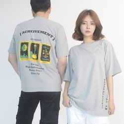 (UNISEX) 3-Tarot Gold cards Short Sleeve T (GREY)