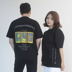 (UNISEX) 3-Tarot Gold cards Short Sleeve T (BLACK)