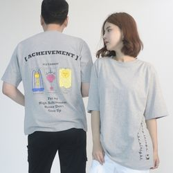 (UNISEX) 3-Tarot cards Short Sleeve T-shirt (GREY)