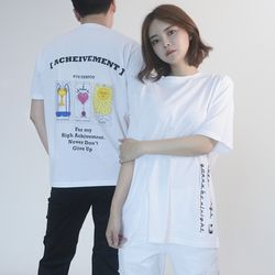 (UNISEX) 3-Tarot cards Short Sleeve T-shirt(WHTIE)