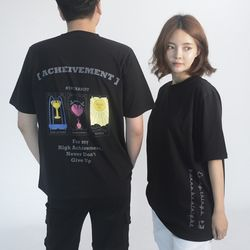 (UNISEX) 3-Tarot cards Short Sleeve T-shirt(BLACK)