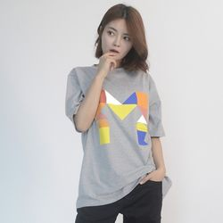 (UNISEX) Colorful M Logo Short Sleeve T (GREY)